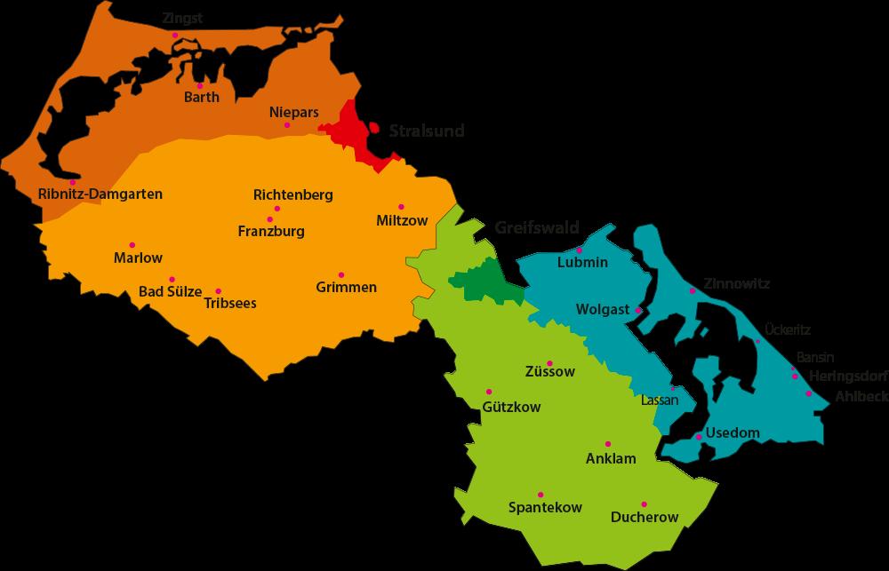 Karte Vorpommern Landknirpse Regionen